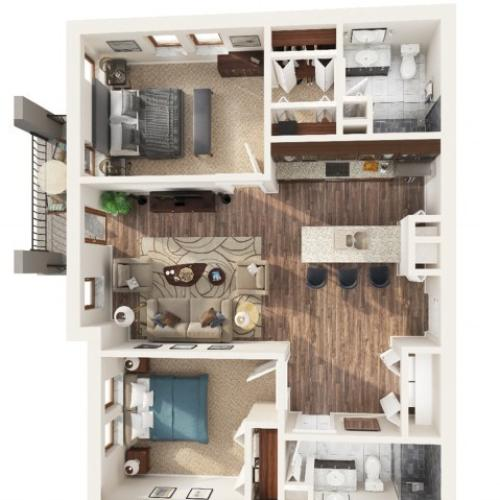 2 Bedroom Floor Plan | Apartments Odessa Tx | Advenir at Legado Ranch