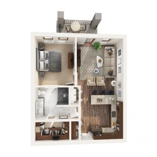 1 Bedroom Floor Plan | Apartments Odessa Tx | Advenir at Legado Ranch