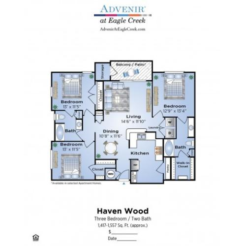 3 Bedroom Floor Plan | Humble TX Apartments | Advenir at Eagle Creek
