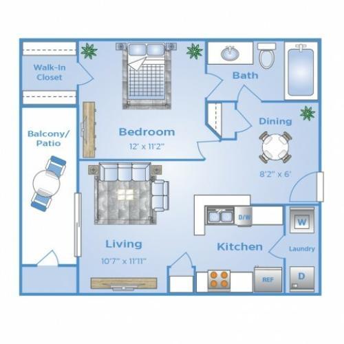 1 Bedroom Floor Plan   Apartments in North Dallas Tx   Advenir at Frankford Springs