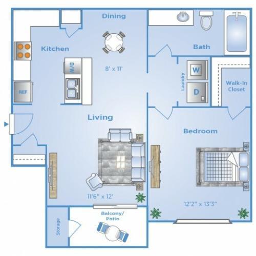 1 Bdrm Floor Plan | Dallas Texas Luxury Apartments | Advenir at Frankford Springs