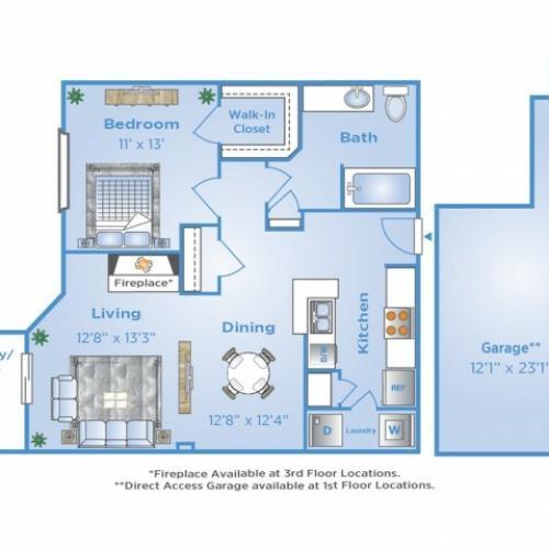 1 Bedroom Floor Plan | Apartments in North Dallas Tx | Advenir at Frankford Springs