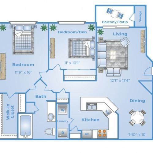 2 Bedroom Floor Plan | North Dallas Tx Apartments | Advenir at Frankford Springs