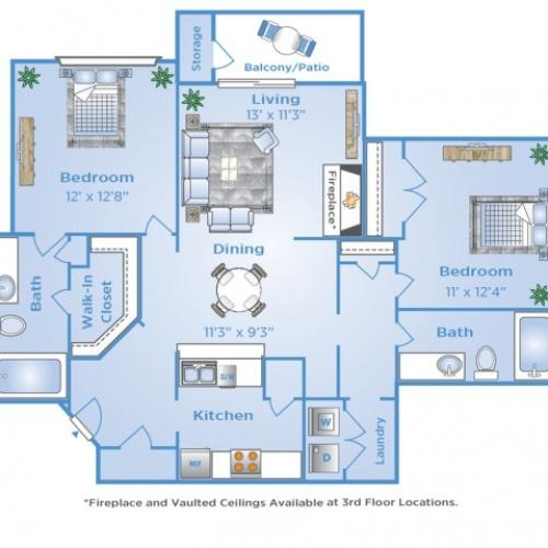2 Bdrm Floor Plan | Apartments Near Galleria Dallas | Advenir at Frankford Springs