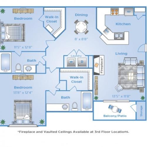 2 Bdrm Floor Plan | Apartments Near Galleria Dallas | Advenir at Frankford Springs