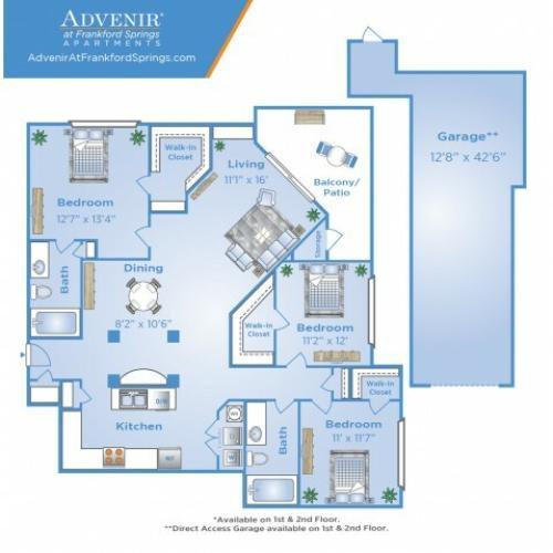 3 Bdrm Floor Plan | Apartments Near Galleria Dallas | Advenir at Frankford Springs