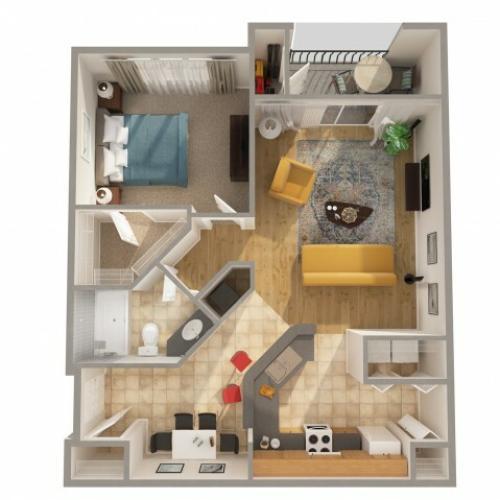 1 Bedroom Floor Plan | Apartments In New Smyrna Beach FL | Lyme Stone Ranch