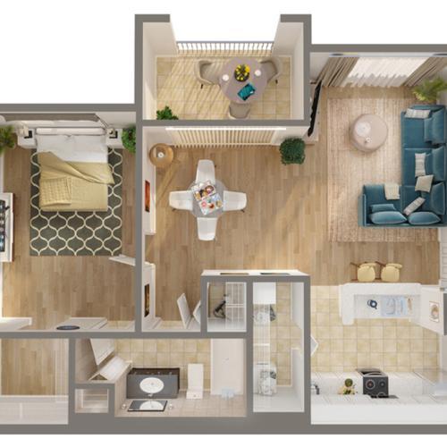 1 Bedroom Floor Plan | Luxury Apartments In Naples FLorida | Advenir at Aventine