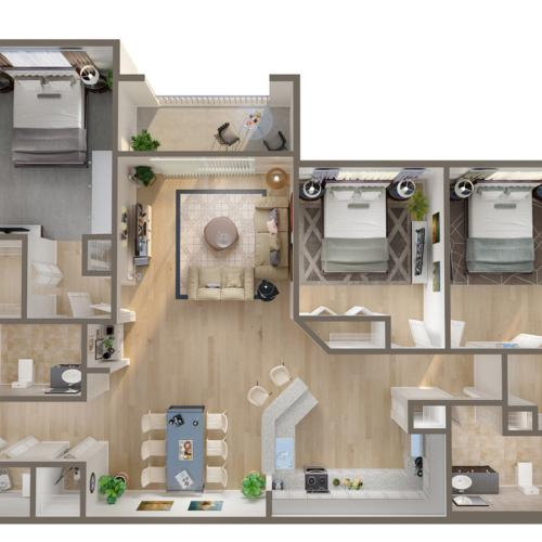 3 Bedroom Floor Plan | Naples Florida Apartments | Advenir at Aventine