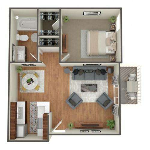 1 Bedroom Floor Plan | Apartments In CHerry Creek Colorado