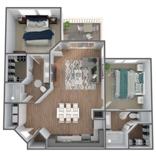 2 Bedroom Floor Plan | Luxury Apartments In Clermont Florida | Advenir at Castle Hill