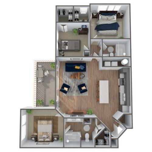 3 Bedroom Floor Plan | Luxury Apartments In Clermont Florida | Advenir at Castle Hill