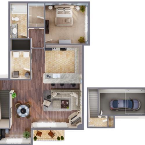 1 Bedroom Renovated Floor Plan | Apartments In Aurora Colorado