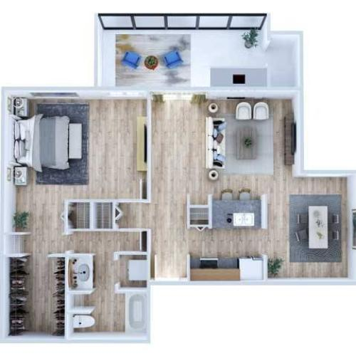 One Bedroom Floor Plan | Apartments Midland TX | Advenir at The Meadows