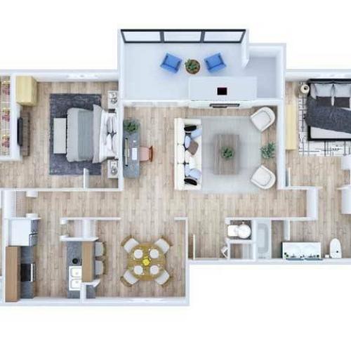 Two Bedroom Floor Plan | Apartments Midland TX | Advenir at The Meadows