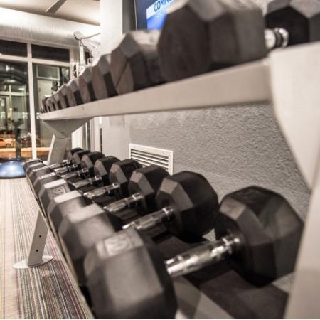 Residents Working Out at Fitness Center   Minneapolis MN Apartment Homes   44 North