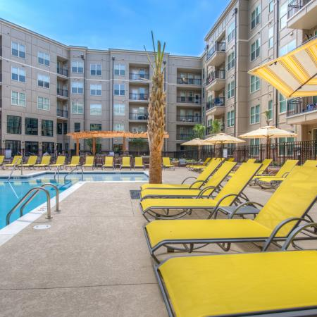 Residents Tanning by the Pool | Columbia SC Apartments | Station at Five Points