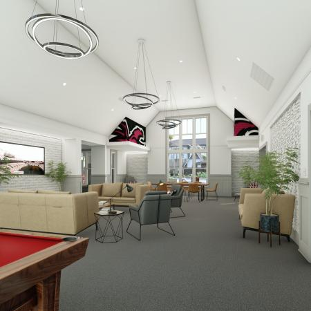 Residents Playing Billiards | Apartments Homes for rent in Columbia, SC | Reign Living at the Stadium