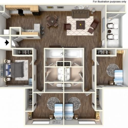 4x2U Floor Plan | University Meadows | Apartments in Mt Pleasant, MI
