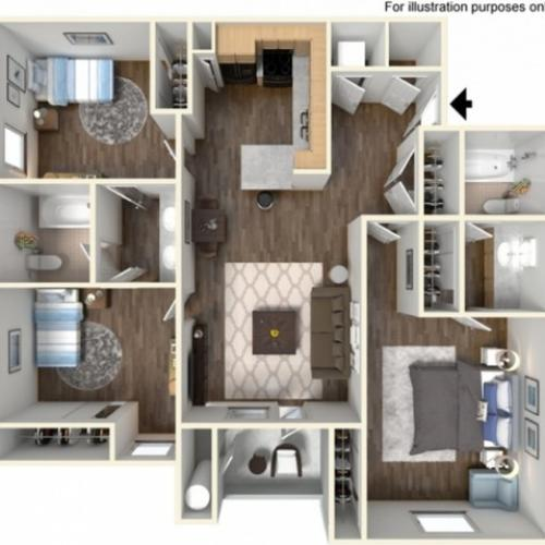 3x2US Floor Plan | University Meadows | Apartments in Mt Pleasant, MI