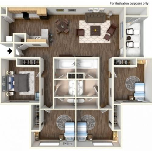 4x2F Floor Plan | University Meadows | Apartments in Mt Pleasant, MI