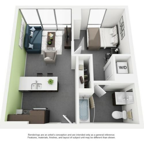 1x1 Floor Plan | Vue 53 | Chicago IL Apartment For Rent