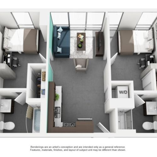 2x2 Private Bath Floor Plan | Vue 53 | Chicago IL Apartment For Rent