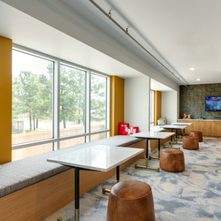 Study Lounge with Coffee Bar  Tower 5040 Apartments near University of Houston