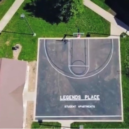 Aerial View Community Basketball Court | Legends Place | Apartments in Lawrence, KS