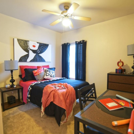 Roomy Bedroom | Legends Place | Off-Campus KU Apartments
