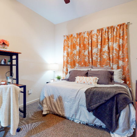 Bedroom with desk | The Edge on Hovey | Apartments in Normal, IL
