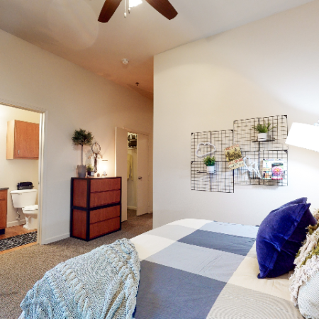 Bedroom with attached bath | The Edge on Hovey | Apartments in Normal, IL