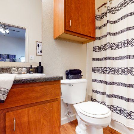Bathroom with Traditional Cabinetry | The Edge on Hovey | Apartments in Normal, IL
