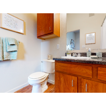 Bathroom with wood-plank  style flooring | The Edge on Hovey | Apartments in Normal, IL