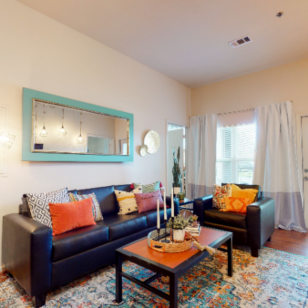 Living Room with Plank-Style Flooring | The Edge on Hovey | Apartments in Normal, IL