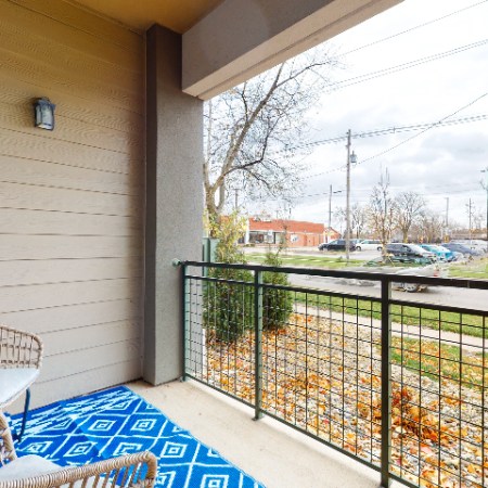 Patio - Balcony overlooking grounds | The Edge on Hovey | Apartments in Normal, IL