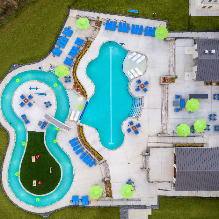 Aerial View of Pool & Sundeck Area at Campion at Lafayette   Apartments in Lafayette