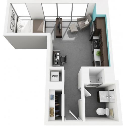 Studio floorplan | Vue 53 | Chicago IL Apartment For Rent