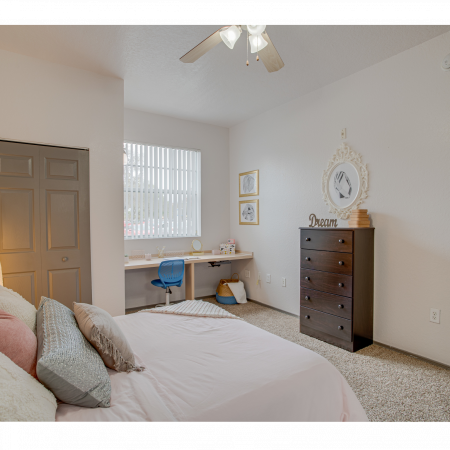 Roomy Bedroom with Desk | Station 42 | Off-Campus Tampa Housing