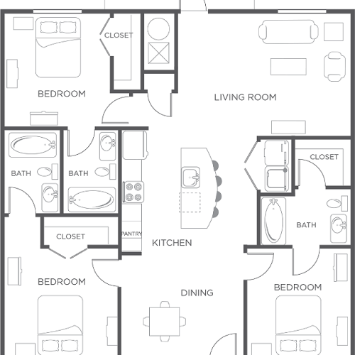 3x3 | Flat | Wildwood Lubbock | Apartments near Texas Tech