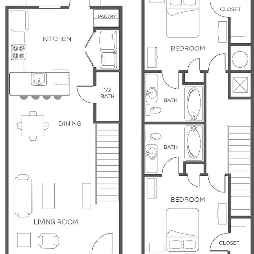 2x2 | Townhome | Wildwood Lubbock | Apartments near Texas Tech