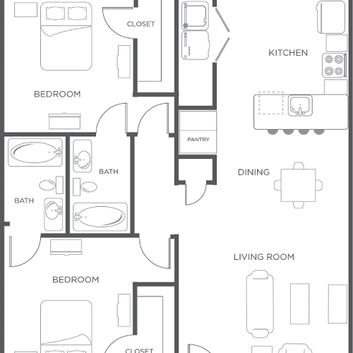 2x2 | Flat - 2 Bedroom Floor Plan | Wildwood Lubbock | Apartments in Lubbock, TX