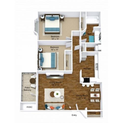 2 Bdrm Floor Plan | Pet Friendly Apartments in Grand Rapids MI| Central Park Place
