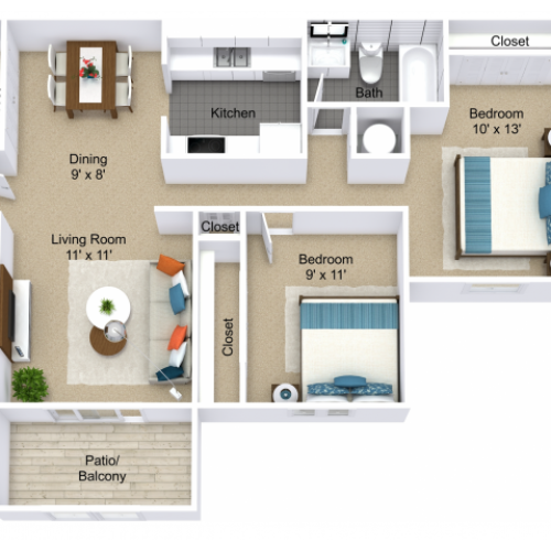 2 Bedroom Floor Plan | Apartments For Rent Indianapolis | Emerson