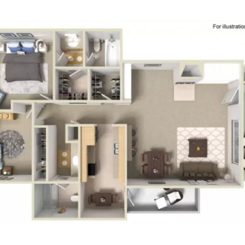2 Bedroom Floor Plan | Apartments For Rent In Portland, OR | Arbor Creek Apartments