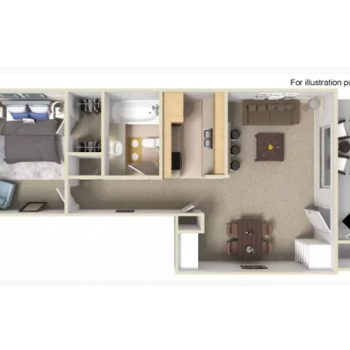 1 Bedroom Floor Plan | Apartments For Rent In Portland, OR | Arbor Creek Apartments