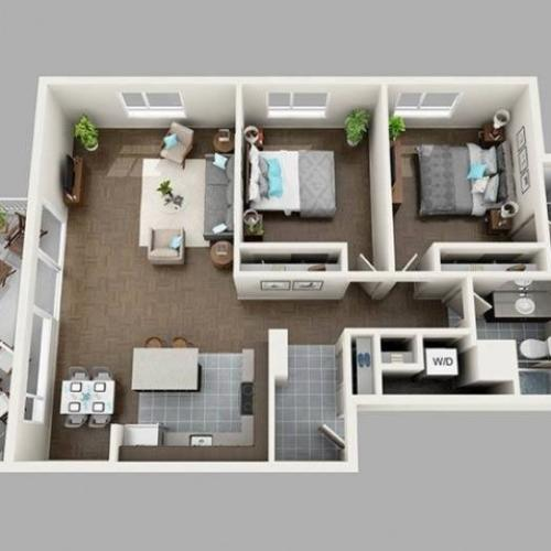 2 Bedroom Floor Plan | Apartments For Rent In Seattle, WA | Panorama Apartments