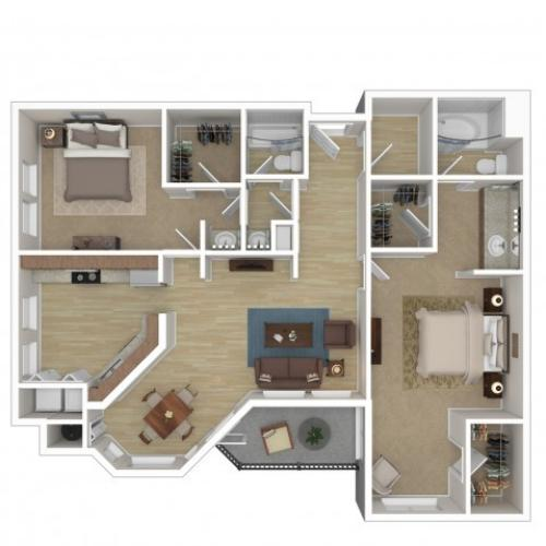2 Bdrm Floor Plan | Phoenix Arizona Apartments | Andante
