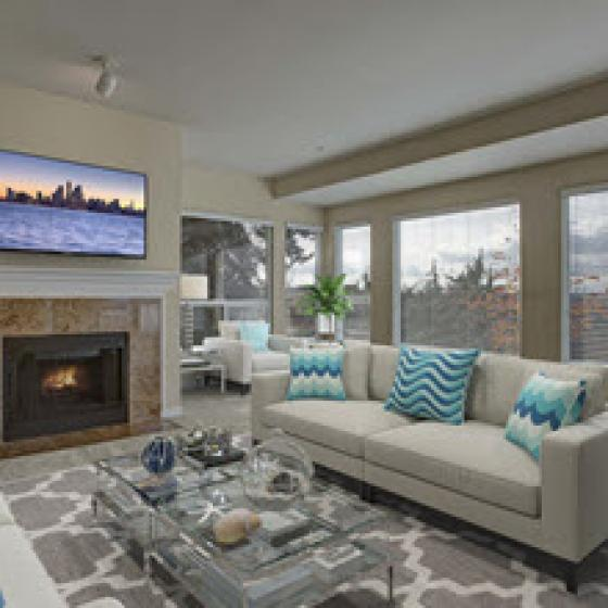 Luxurious Living Room | Kirkland Wa Apartments | The Carillon Apartments