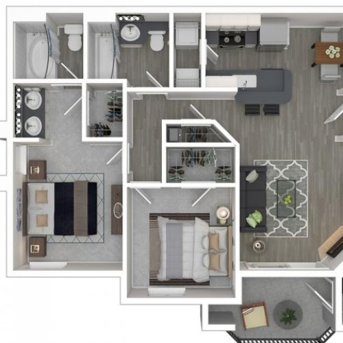 2 Bdrm Floor Plan | Apartments In Sacramento California | Broadleaf Apartments